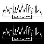 Moscow skyline. Linear style. Editable vector file.