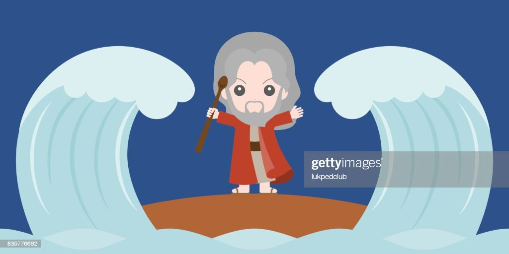 moses dividing the red sea in two parts, flat design cute character