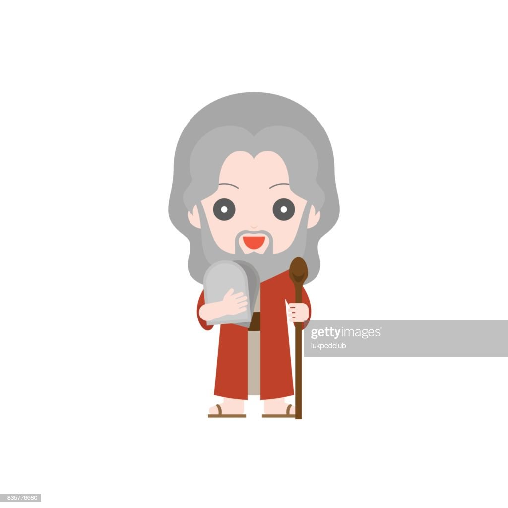 Moses with ten commandments and rod (matteh), cute character in flat style