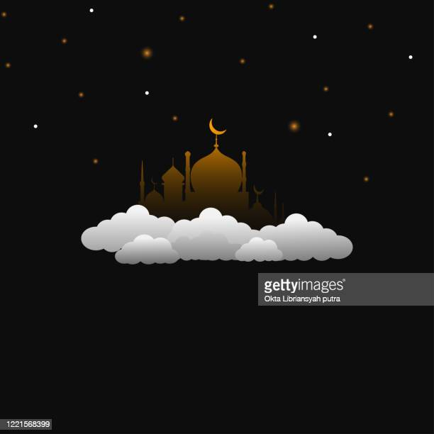 mosque above the clouds - eid mubarak stock illustrations