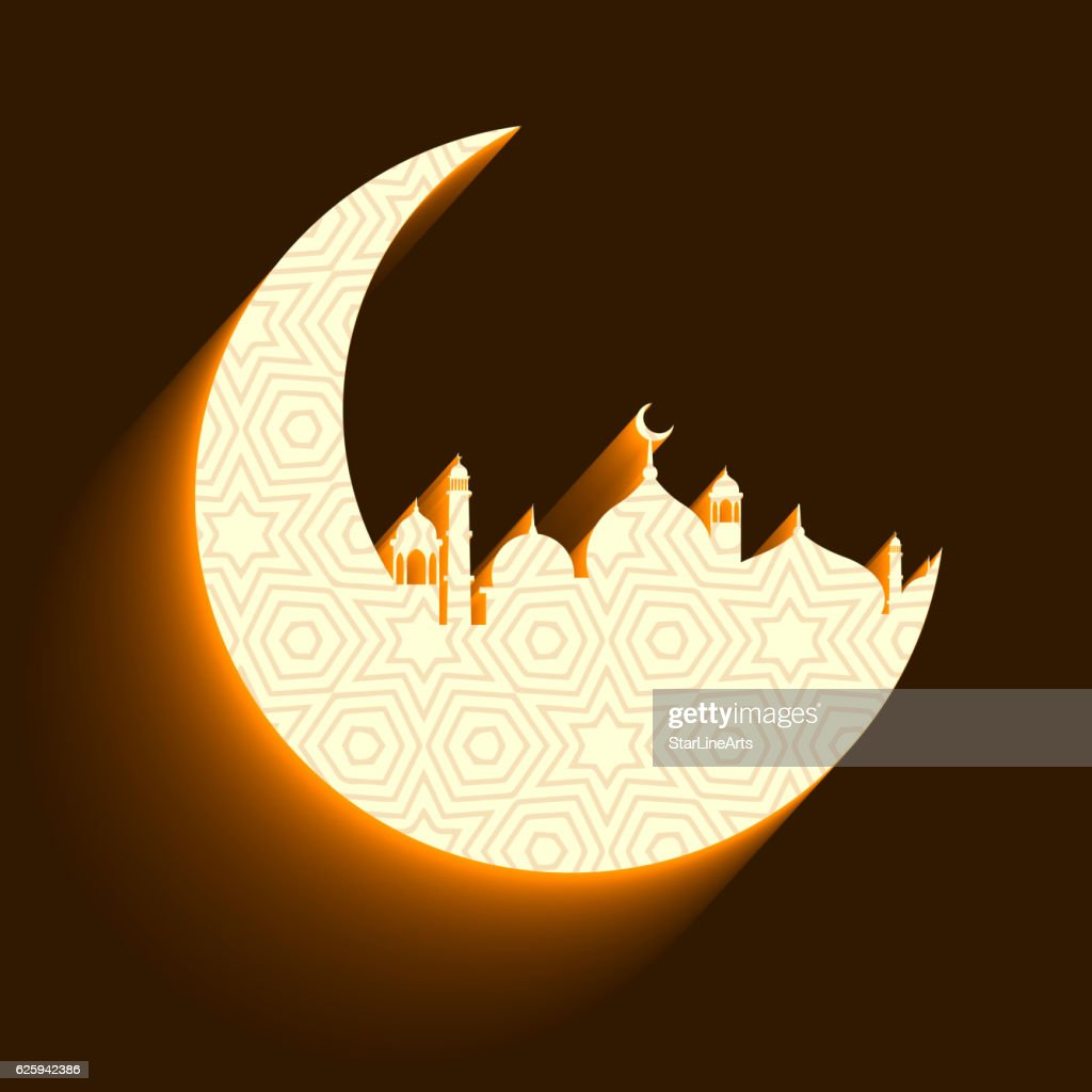 mosque and moon background