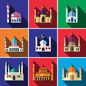 Mosque flat icon set