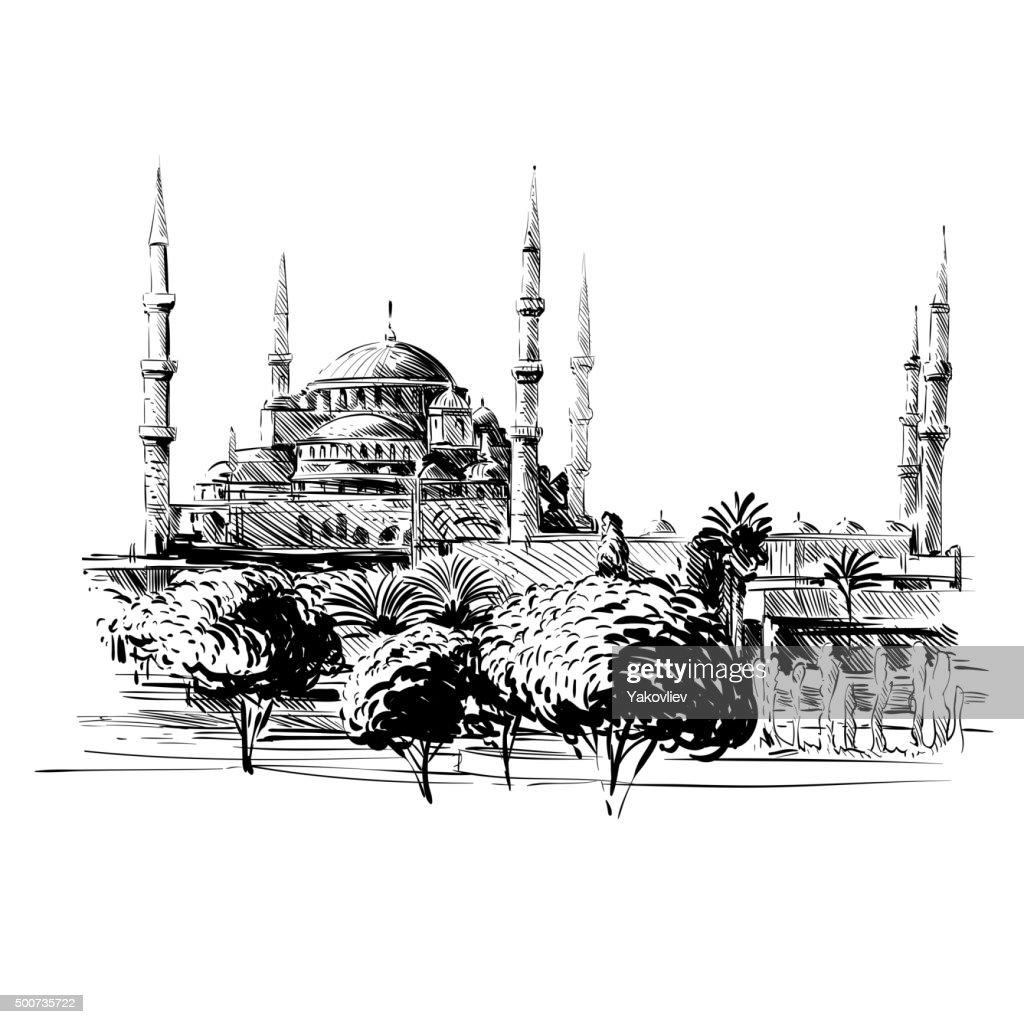 Mosque hand drawn, Turkey Istanbul. Vector illustration