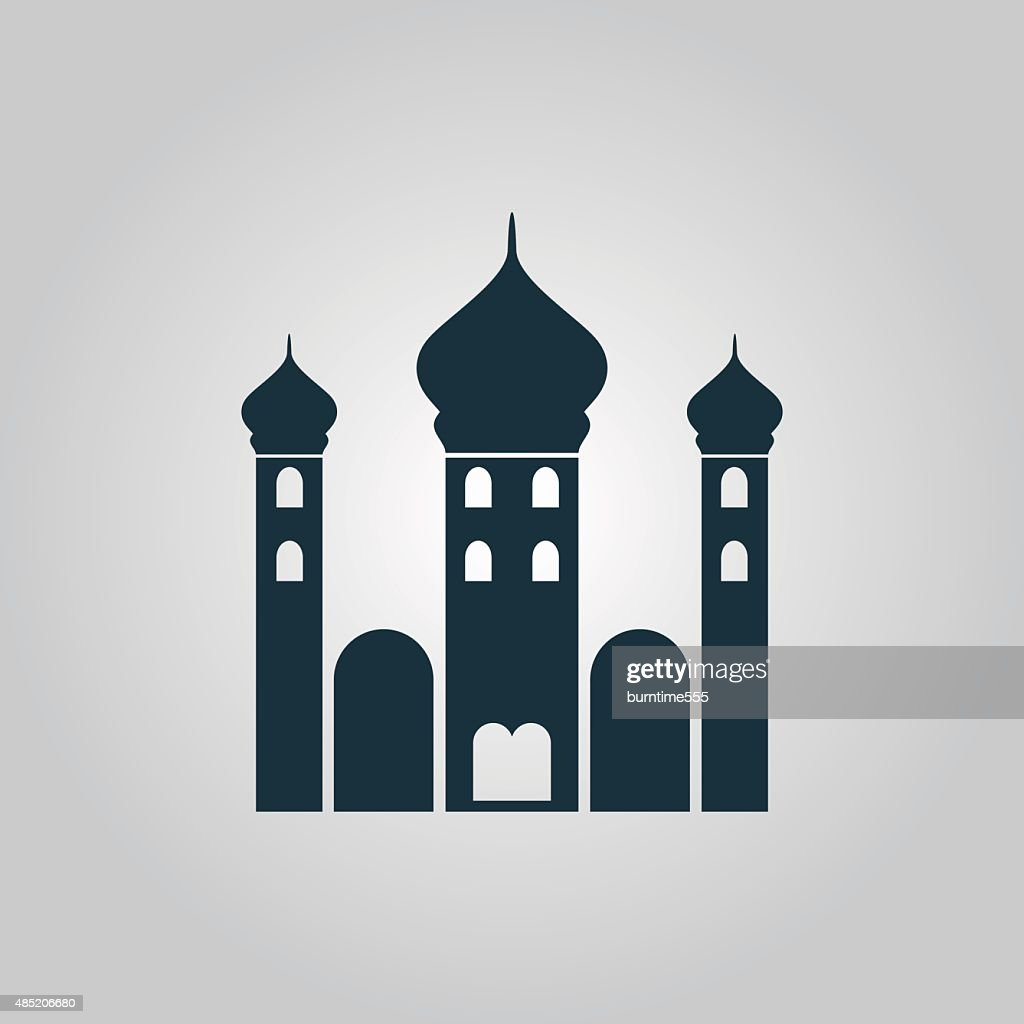Mosque icon on yellow background