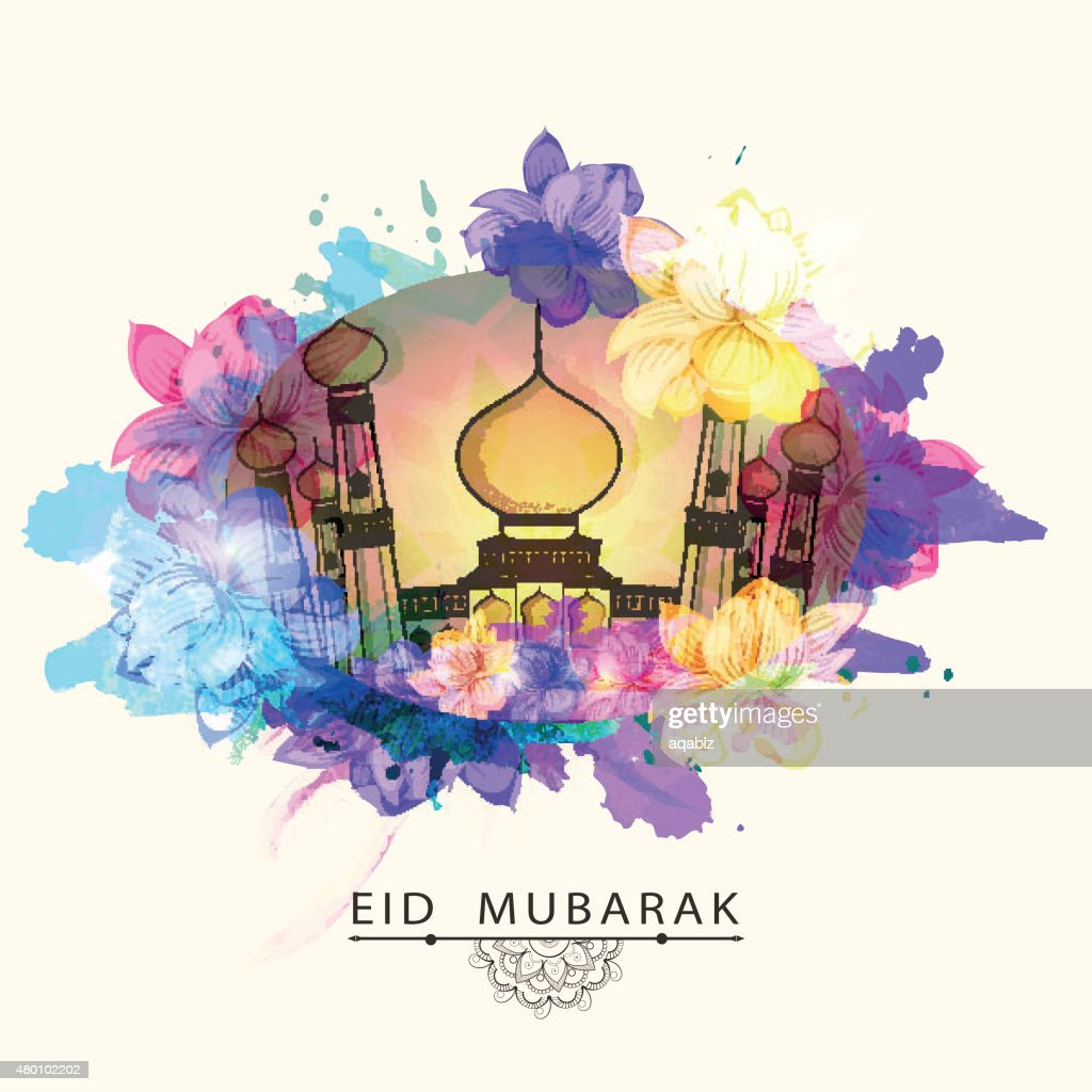 Mosque in beautiful frame for Eid Mubarak.