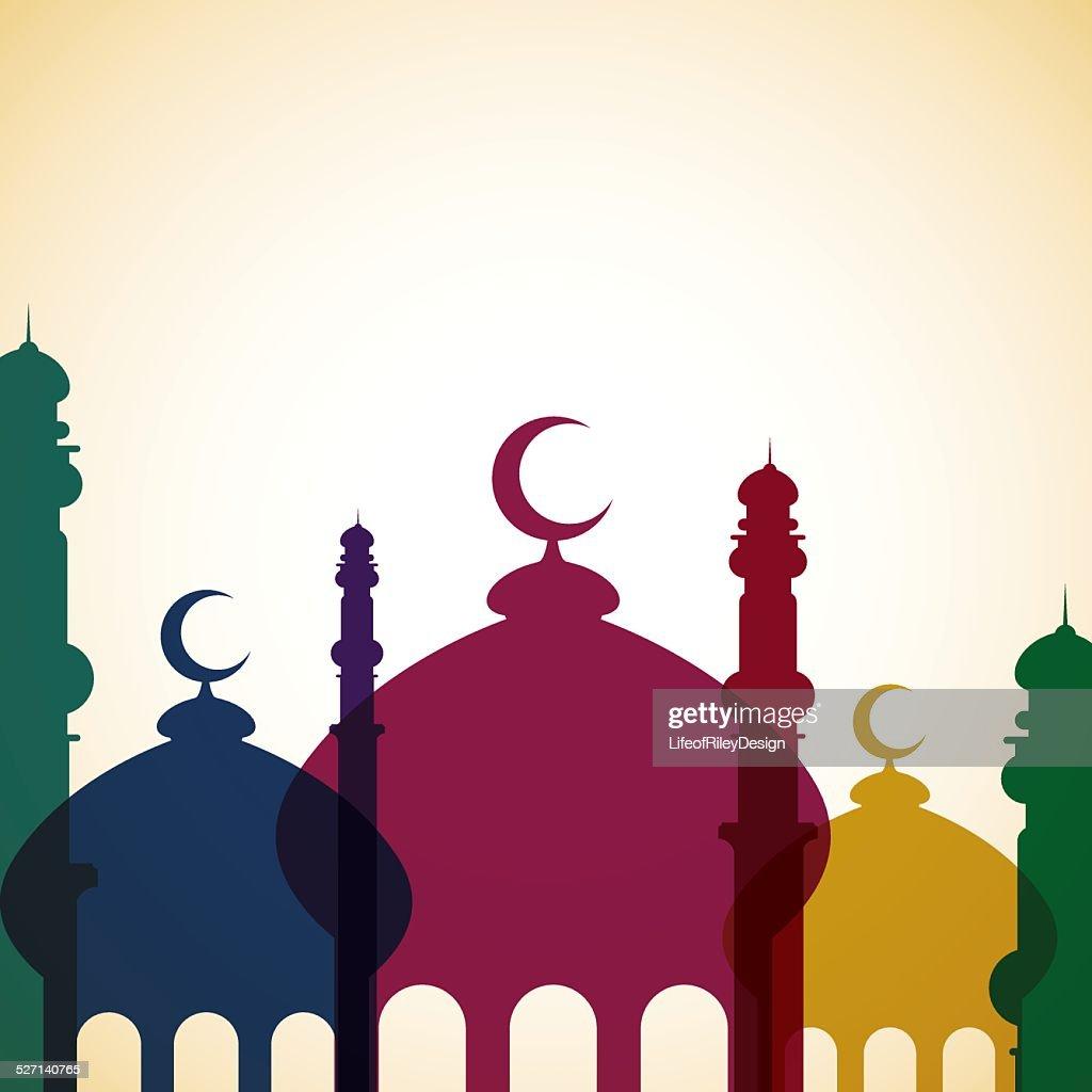 Mosque 'Ramadan Kareem' (Generous Ramadan) card in vector format