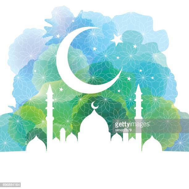Mosque silhouette with crescent moon and star background