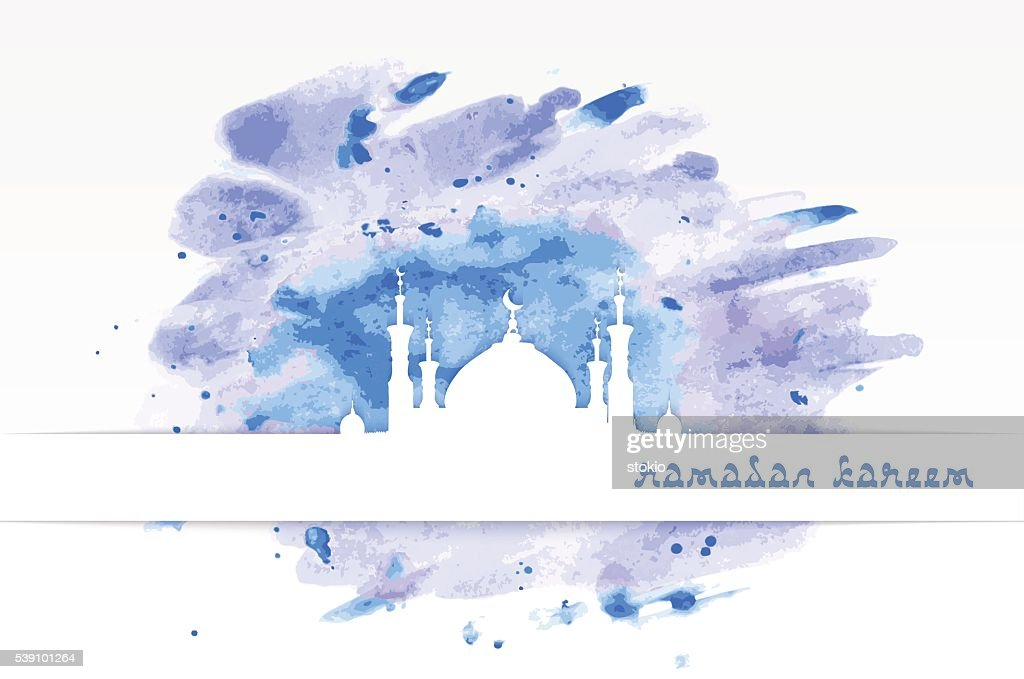 mosque with minarets on watercolor background