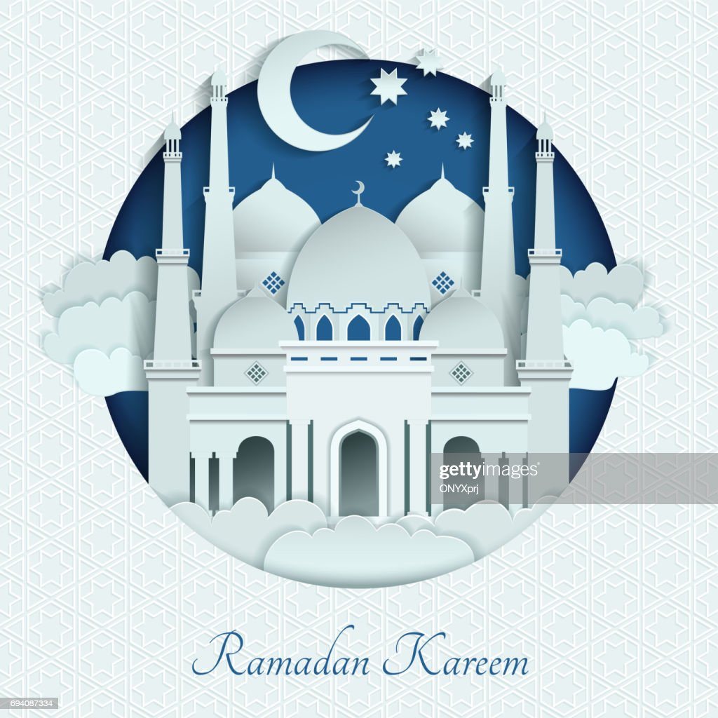 Mosques roofs from paper with long shadows. Islam vector background illustration
