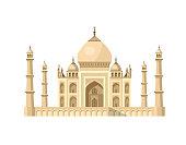 most famous World landmark. Vector illustration of Taj Mahal