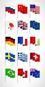 Most popular world flags set. Flat design