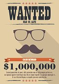 Most wanted man with mustache and glasses poster