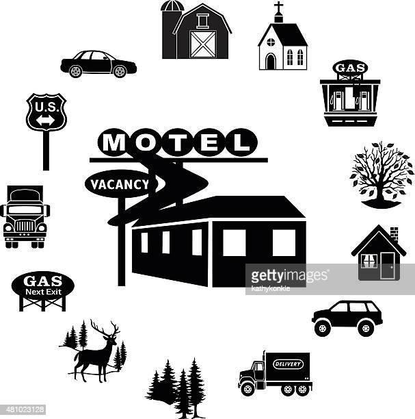 motel icon surrounded by rural countryside icons circular border
