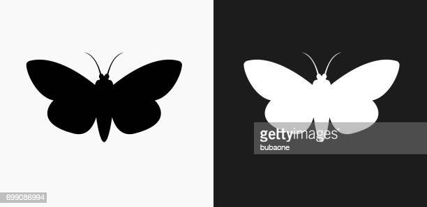 Moth Icon on Black and White Vector Backgrounds