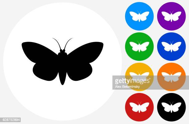 Moth Icon on Flat Color Circle Buttons