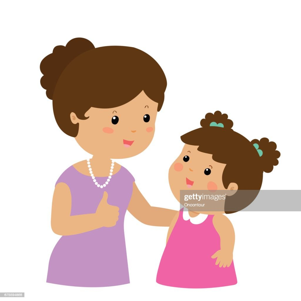Mother admire daughter character cartoon vector