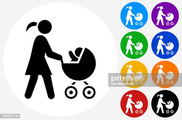 Mother and Baby Carriage Icon on Flat Color Circle Buttons