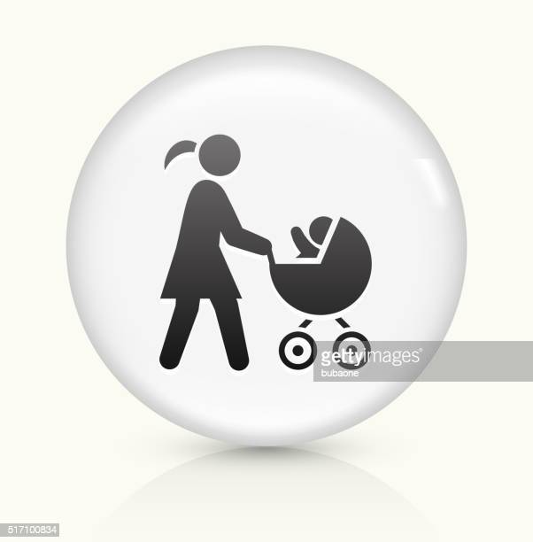 mother and baby carriage icon on white round vector button - three wheeled pushchair stock illustrations, clip art, cartoons, & icons