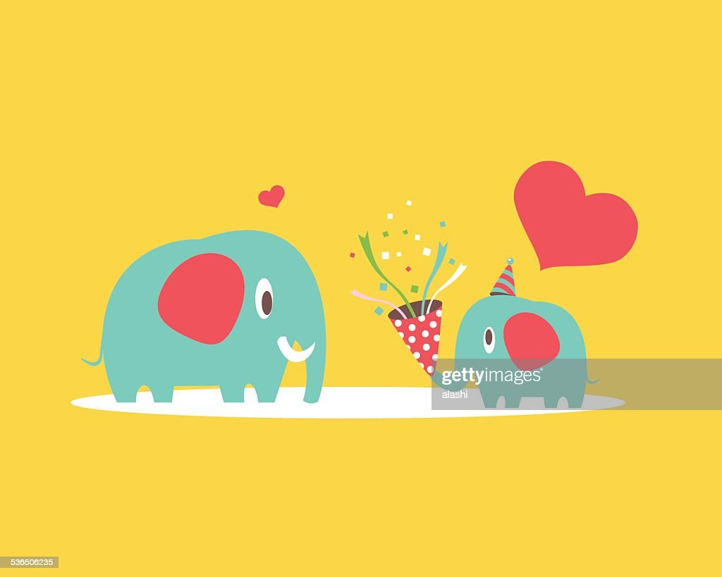 Mother and baby elephant : Vector Art