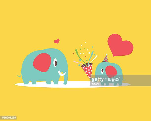 mother and baby elephant - mothers day stock illustrations