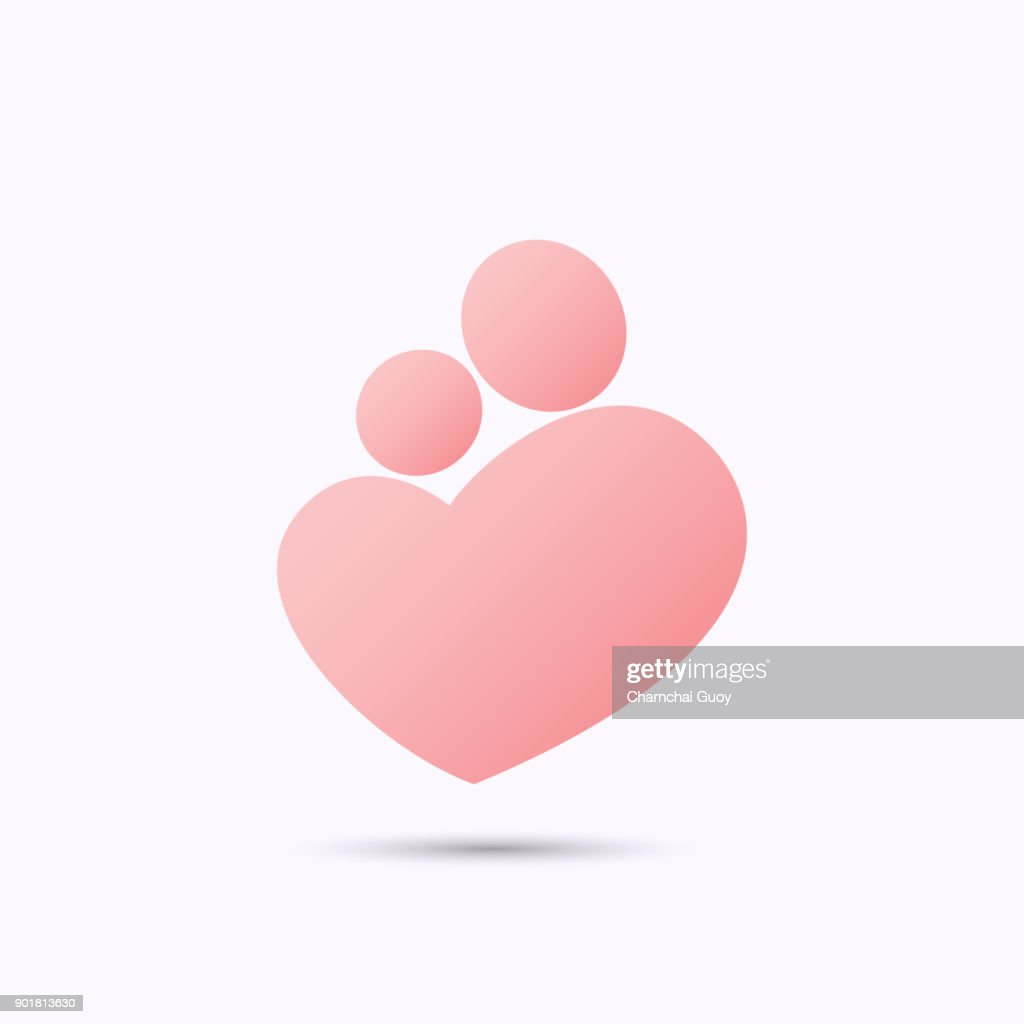 Mother and baby heart symbol