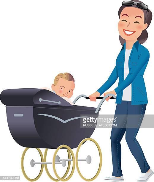 illustrations, cliparts, dessins animés et icônes de mère et bébé landau - assistante maternelle