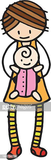 mother and baby - baby blanket stock illustrations, clip art, cartoons, & icons