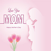 Mother and baby with Happy Mother's day text on pink Paper art background, Paper cut illustration