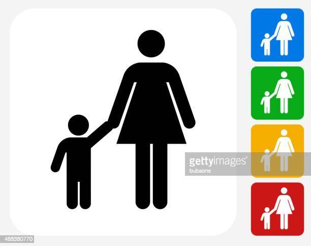 illustrations, cliparts, dessins animés et icônes de mère et enfant famille à la conception graphique icône - assistante maternelle
