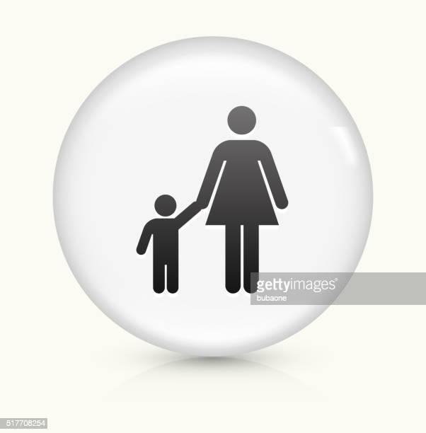 illustrations, cliparts, dessins animés et icônes de mère et enfant famille icône sur blanc vecteur rond bouton - assistante maternelle