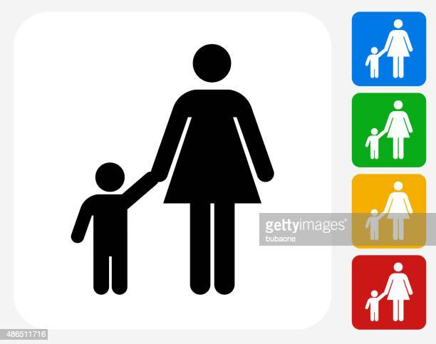 Mother and Boy Icon Flat Graphic Design