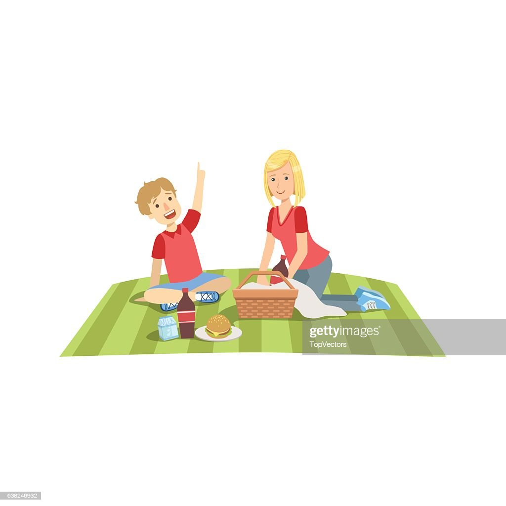 Mother And Child Having Picnic Lunch Together Illustration