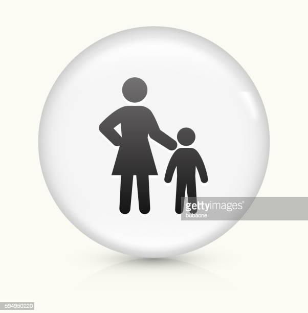 Mother and Child icon on white round vector button