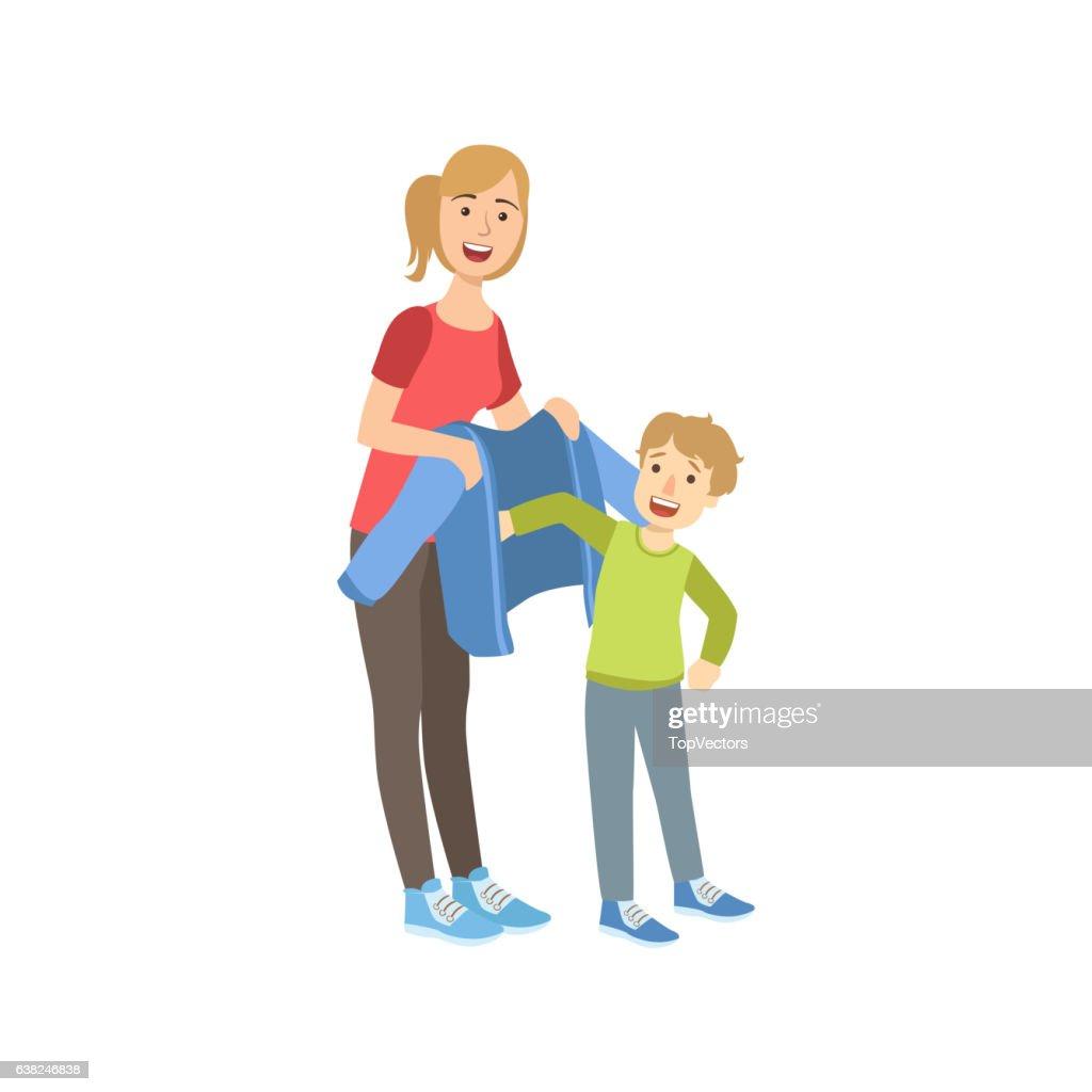 Mother And Child Preparing For Walk Together Illustration