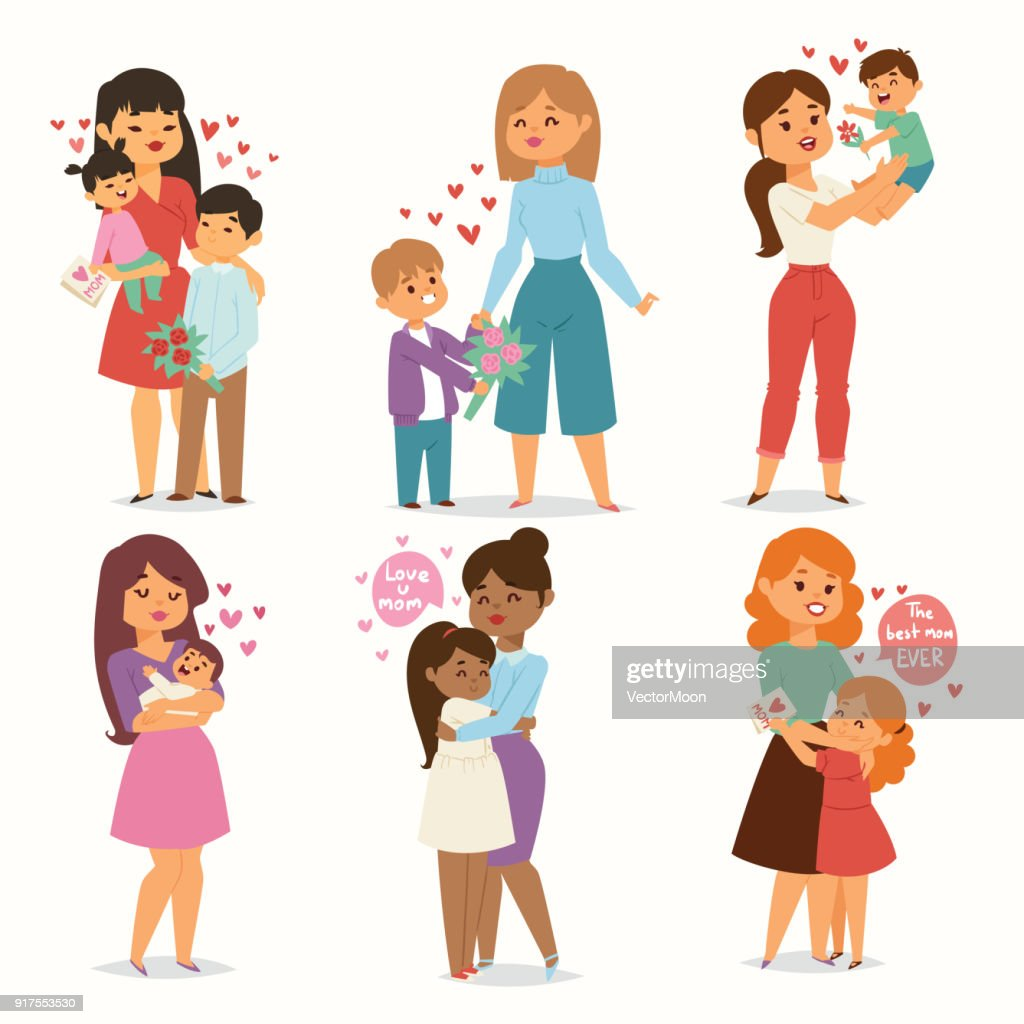 Mother and children kids with flower bouquet love heart couples. Mothers, Valentine or Womans 8 march day. Spring or summer family holiday beautiful female character Mothers Day celebration present