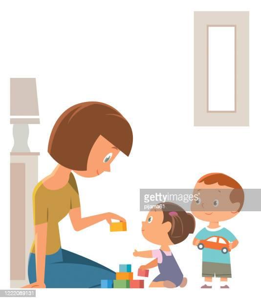 illustrations, cliparts, dessins animés et icônes de mère et enfants jouant avec des jouets dans la salle de jeux - enfance