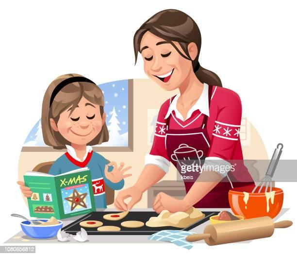 ilustraciones, imágenes clip art, dibujos animados e iconos de stock de madre e hija hornear galletas de navidad - galletas navidad