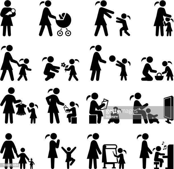 ilustraciones, imágenes clip art, dibujos animados e iconos de stock de madre e hija tiempo familiar & conjunto de iconos en blanco y negro - lactancia materna