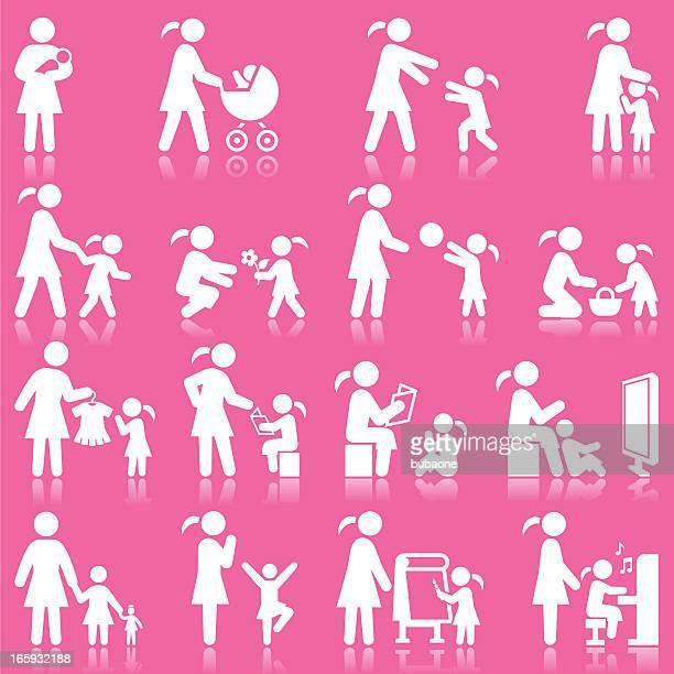 ilustraciones, imágenes clip art, dibujos animados e iconos de stock de madre e hija tiempo familiar rosa & conjunto de iconos blancos - lactancia materna