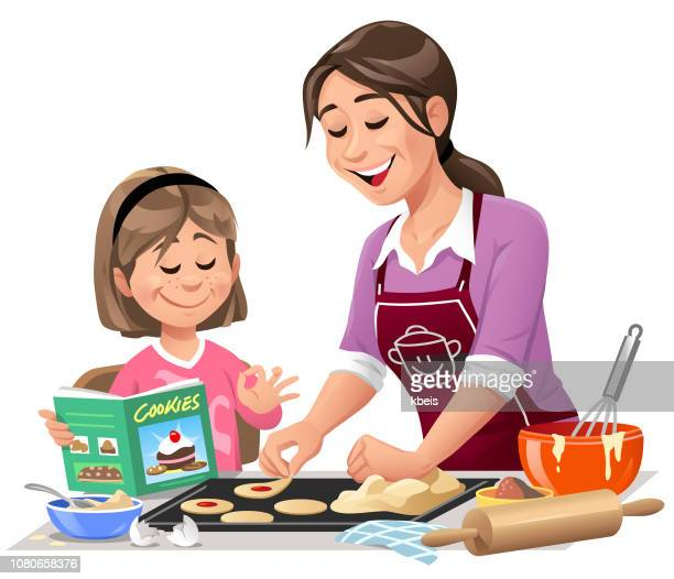 mother and daughter making cookies - parent stock illustrations