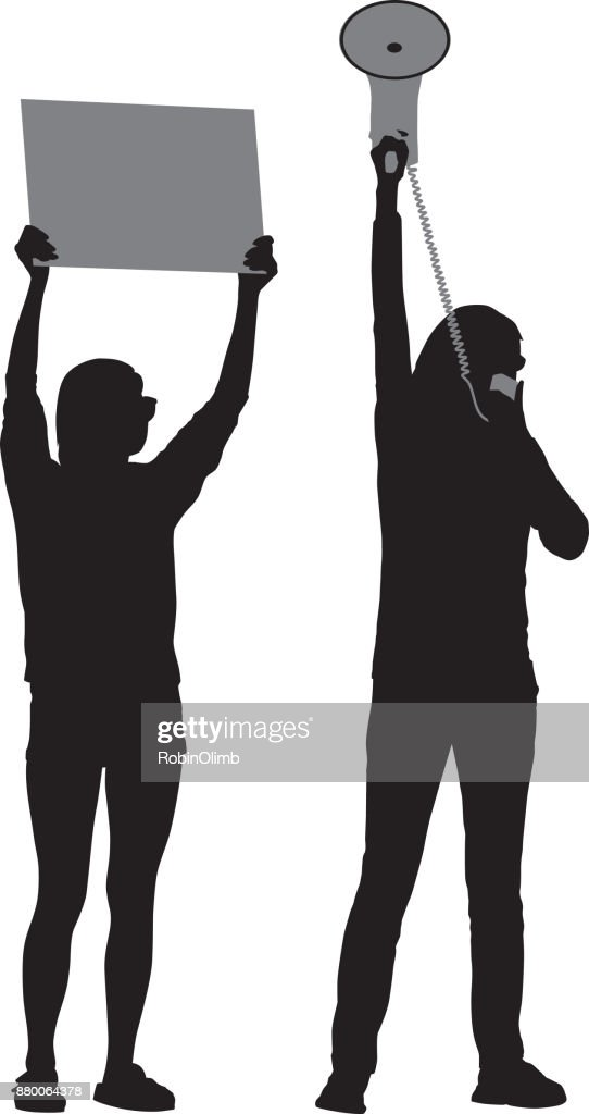Mother And Daughter Protesting : stock illustration