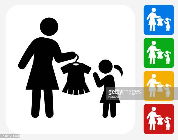 Mother and Daughter Shopping Icon Flat Graphic Design