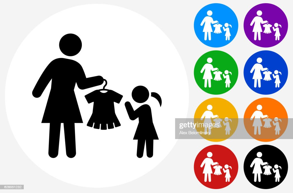 Mother And Daughter Shopping Icon On Flat Color Circle Buttons