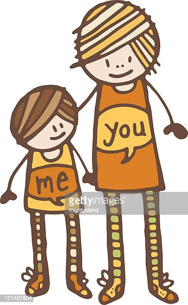 mother and daughter - kids hugging mom cartoon stock illustrations