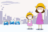 Mother and daughter walk to school and wear masks N95 to prevent air pollution in the city PM 2.5 in dust meter. Concept flat style vector illustration environmental impact.-EPS 10