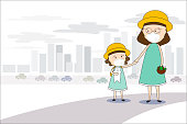 Mother and daughter walk to the market and wear masks N95 to prevent air pollution in the city PM 2.5 in dust meter. Concept flat style vector illustration environmental impact.-EPS 10
