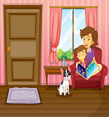 Mother and girl reading with a dog inside the house