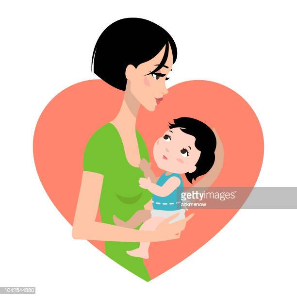 mother and her baby - japanese mom stock illustrations, clip art, cartoons, & icons