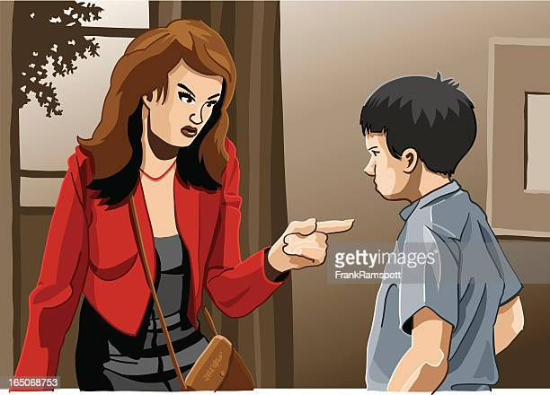 mother and son education trouble - family fighting cartoon stock illustrations