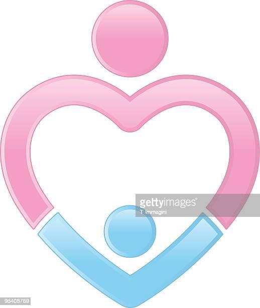 ilustrações de stock, clip art, desenhos animados e ícones de mãe e filho coração - bebe chegando